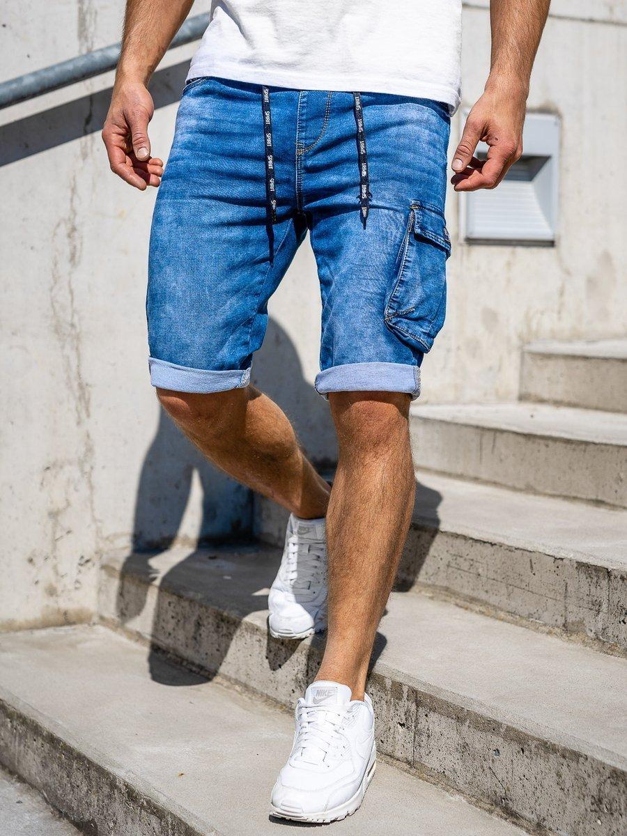 Pantaloni scurți de blugi cargo bleumarin Bolf KR1076 imagine