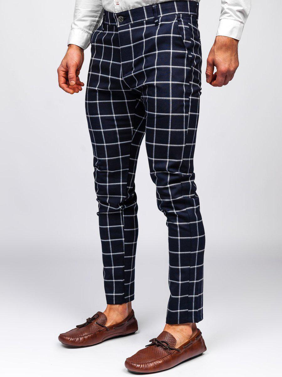 Pantaloni bleumarin chinos în carouri Bolf 0002 imagine