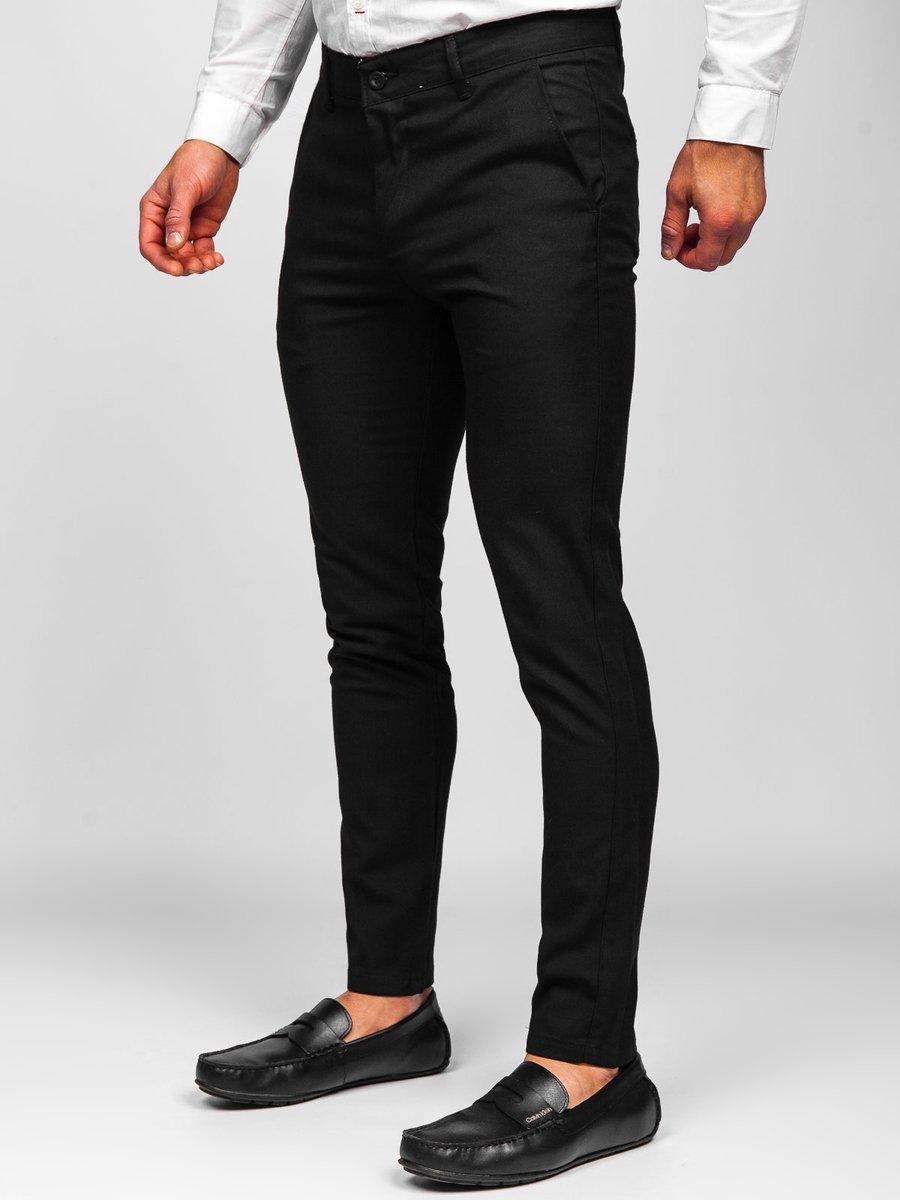 Pantaloni negri chinos Bolf 0017 imagine