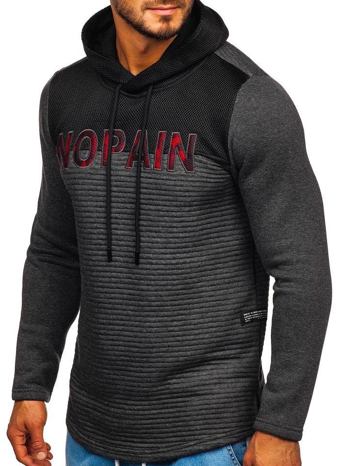 Bluză cu glugă și imprimeu pentru bărbat gri-antracit Bolf 9105