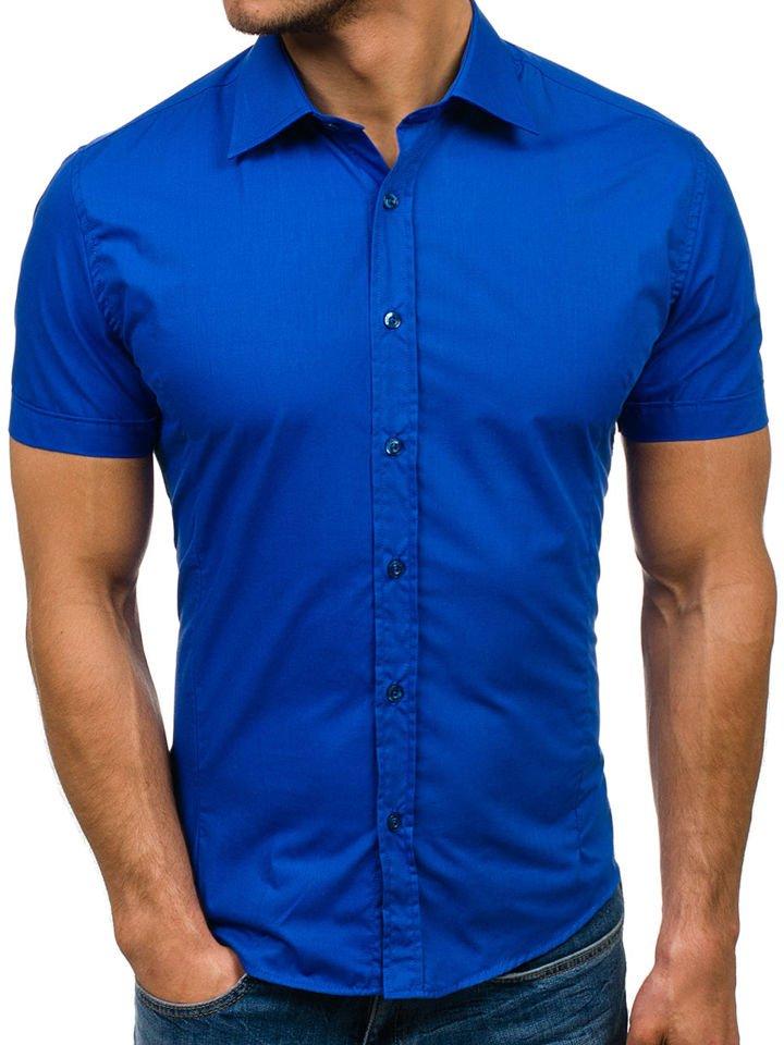 Cămașă elegantă cu mâneca scurtă pentru bărbat albastră Bolf 7501 imagine