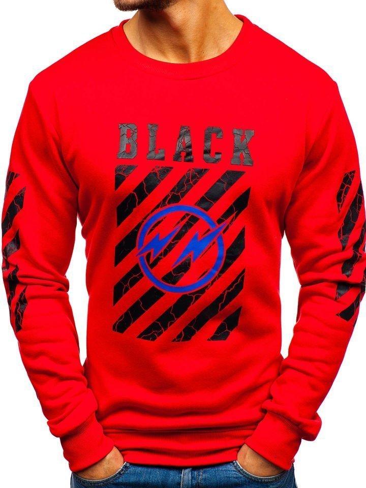 Bluză fără glugă cu imprimeu pentru bărbat roșie Bolf 22012