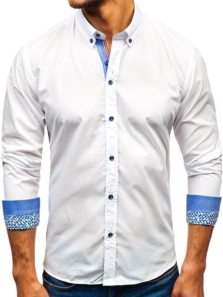 Cămașă elegantă pentru bărbat cu mâneca lungă albă Bolf 8838