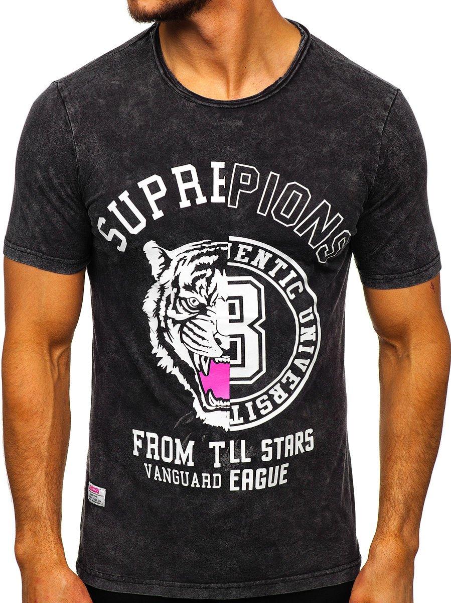 Tricou negru cu imprimeu bărbați Bolf HFM015