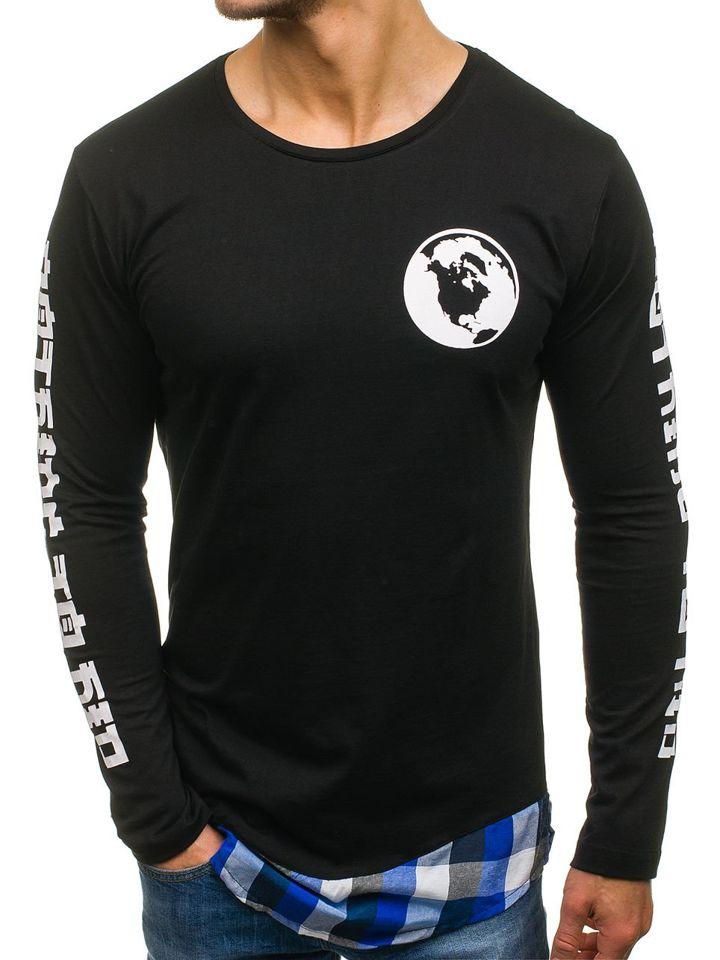 Bluză cu imprimeu pentru bărbat neagră-albastră Bolf 0778