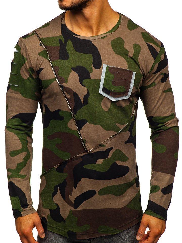 Long sleeve camuflaj cu imprimeu pentru bărbat verde Bolf 1090