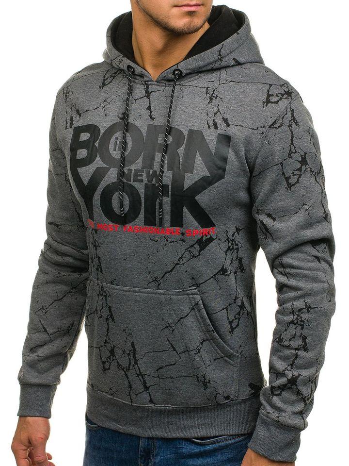 Bluză pentru bărbat cu glugă și imprimeu grafit Bolf DD159 imagine