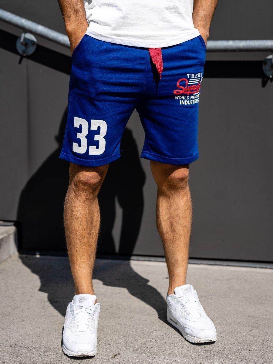 Pantaloni scurți sportivi pentru bărbat albaștri Bolf EX06 imagine