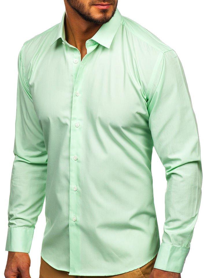 Cămașă elegantă bărbați verde-mentă Bolf 0001