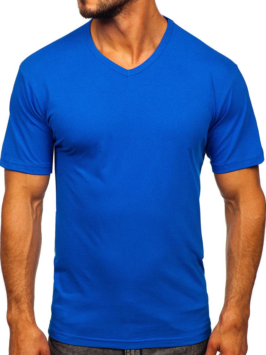 Tricou cu decolteu bărbați albastru Bolf 192131 imagine