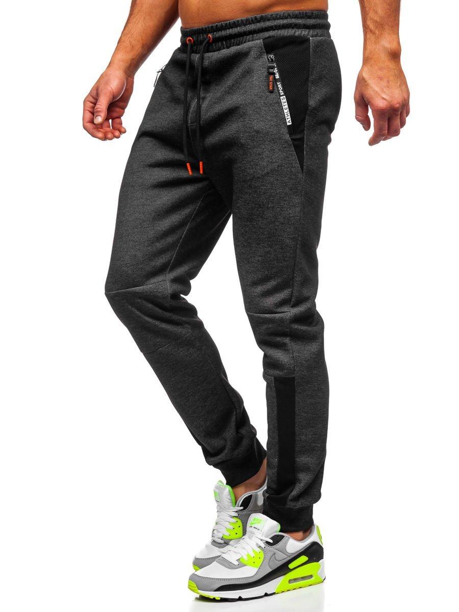 Pantaloni de trening cu imprimeu negru-portocaliu Bolf Q1039