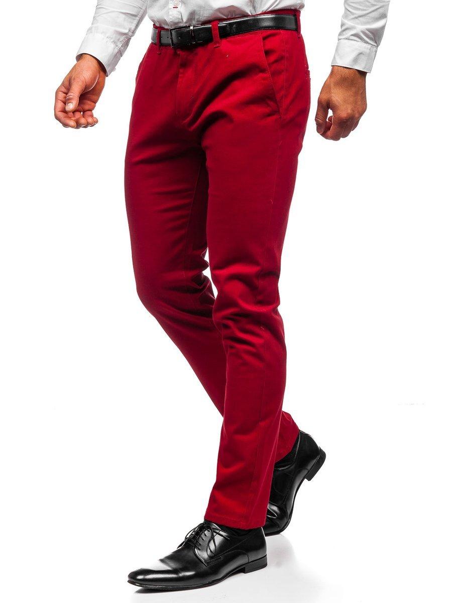 Pantaloni chinos roșii bărbati Bolf 1143