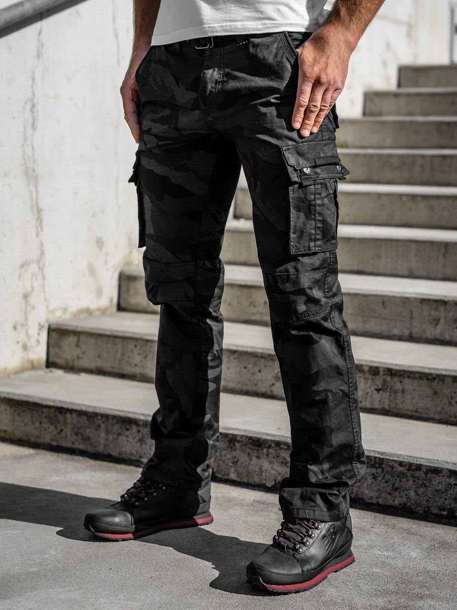 Pantaloni cargo cu curea negri Bolf 2096 imagine