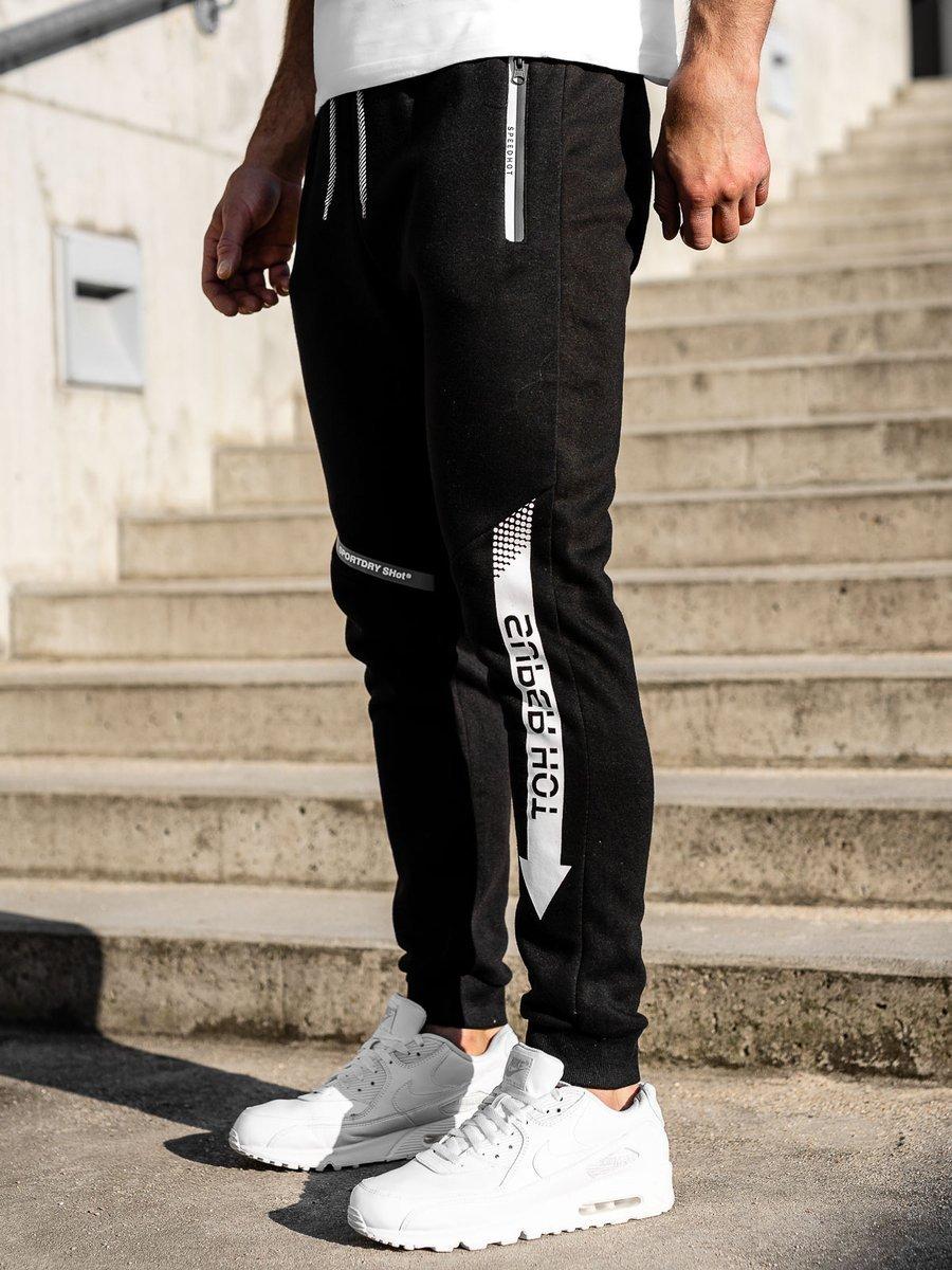 Pantaloni de trening negri-albi Bolf K10009