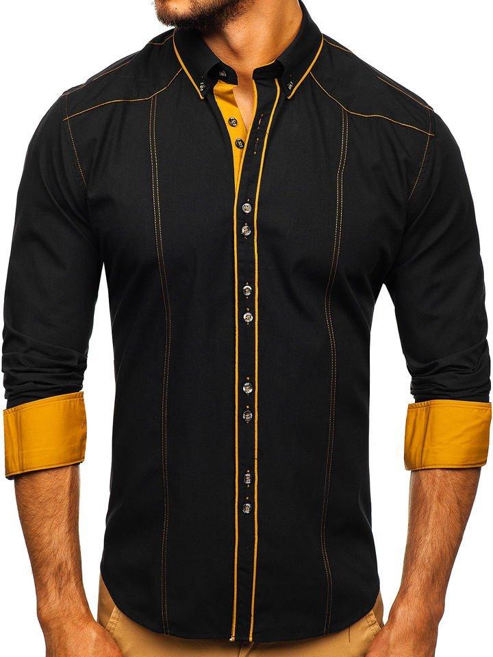 Cămașă elegantă pentru bărbat cu mâneca lungă neagră Bolf 4777
