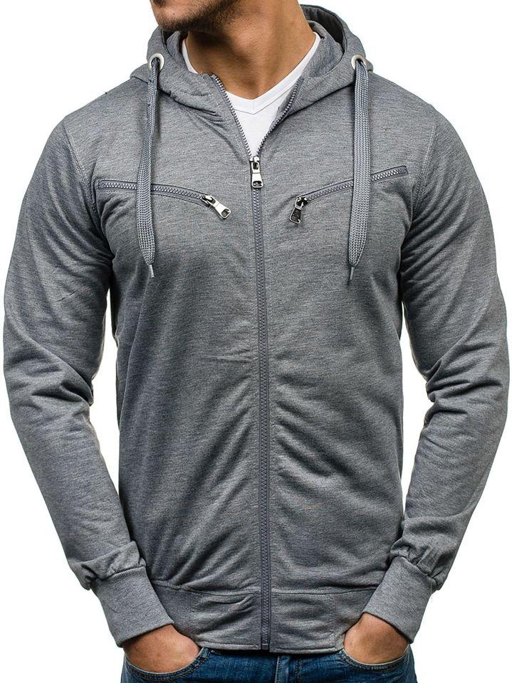 Bluză cu glugă pentru bărbat gri Bolf 7080
