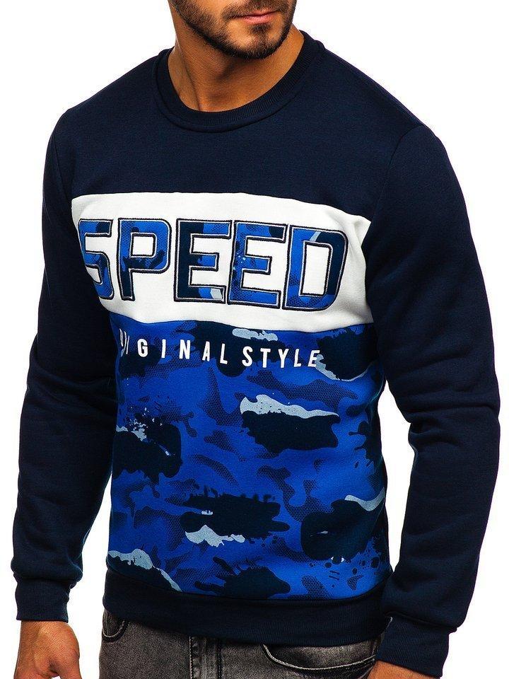Bluza cu imprimeu bărbati albastra Bolf HY605