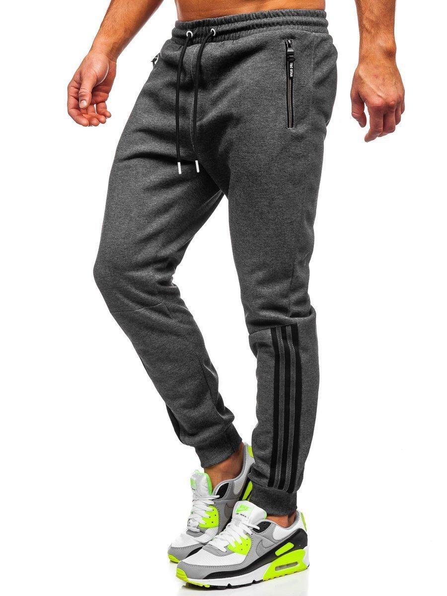 Pantaloni de trening grafit-alb Bolf Q1043