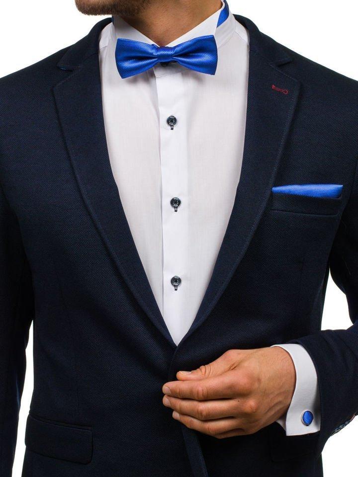 Set pentru bărbat papion, butoni, batistă albastră Bolf MSP01