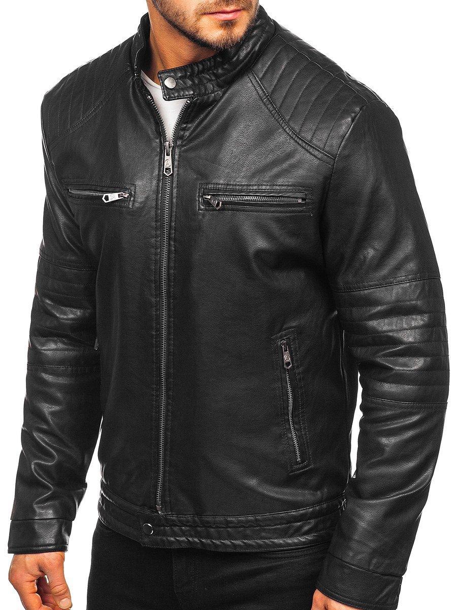 Geacă de piele biker izolata termic neagra Bolf 92530 imagine