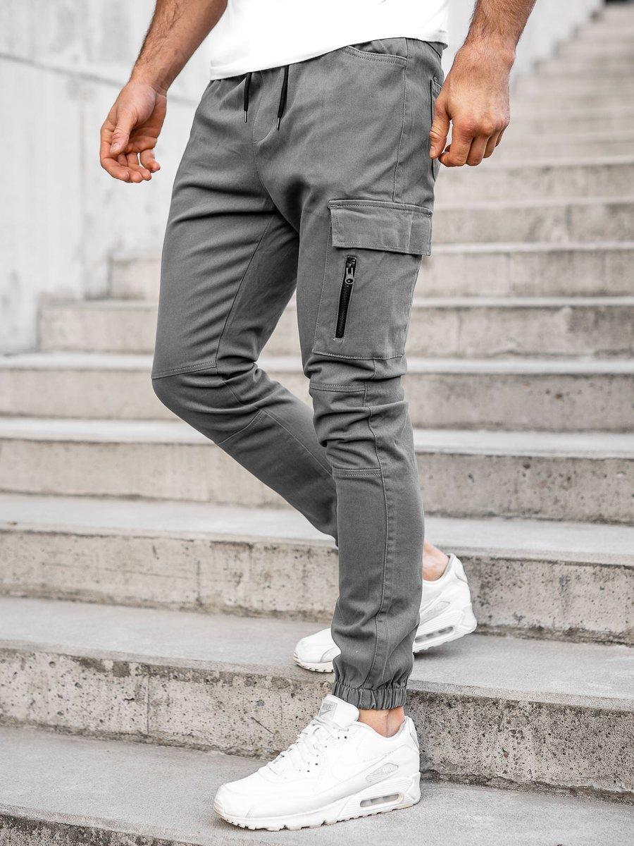 Pantaloni joggers cargo gri Bolf 11104 imagine