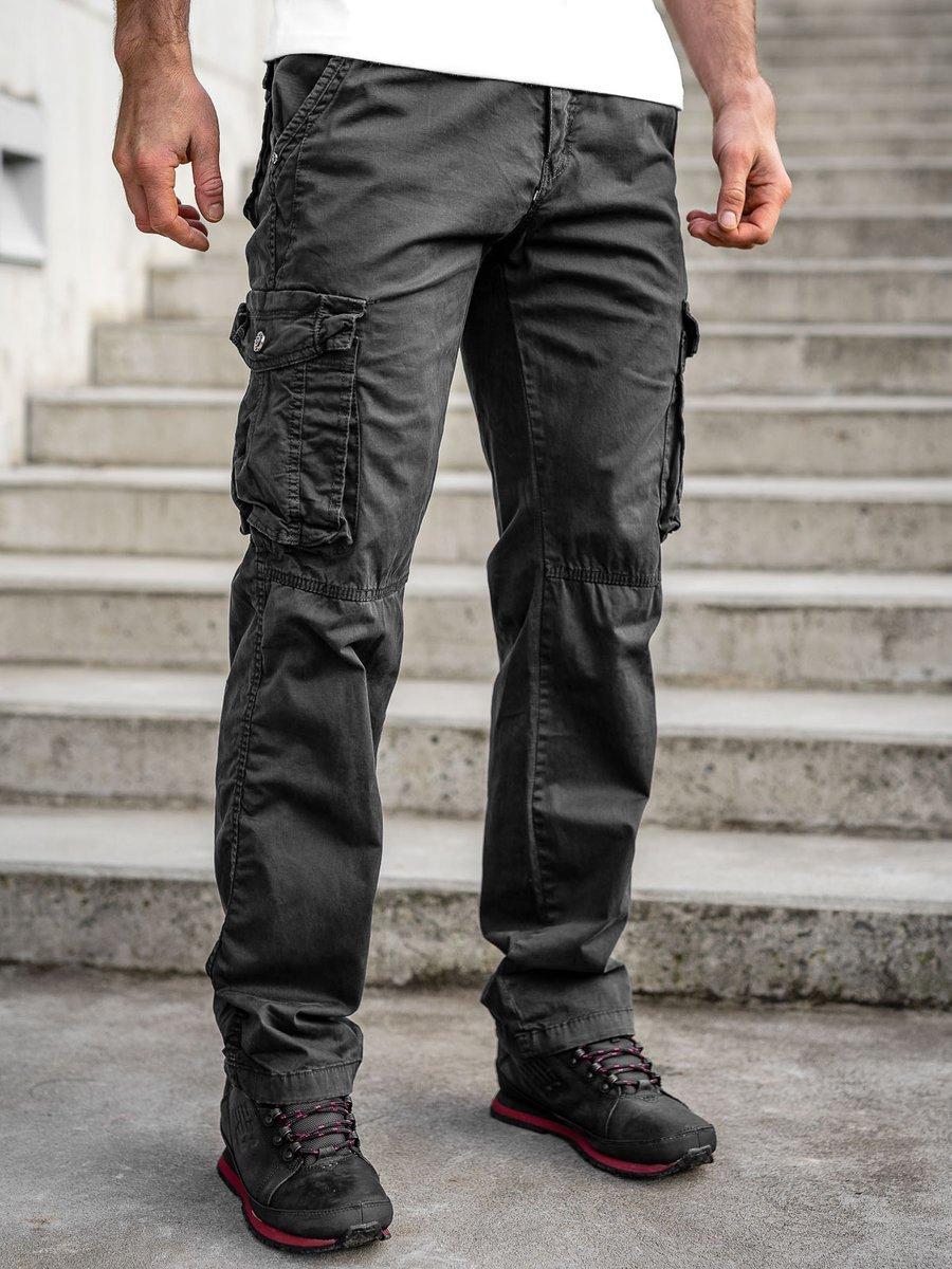 Pantaloni negri cargo cu curea Bolf CT8906 imagine