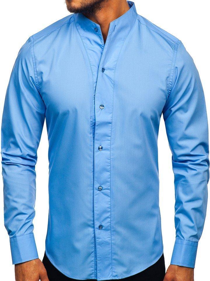 Cămașă pentru bărbat cu mâneca lungă albastră Bolf 5702 imagine