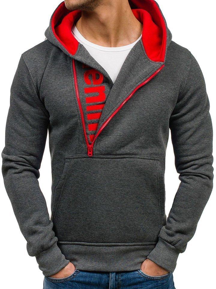 Bluză pentru bărbat cu glugă gri-deschis Bolf Y10