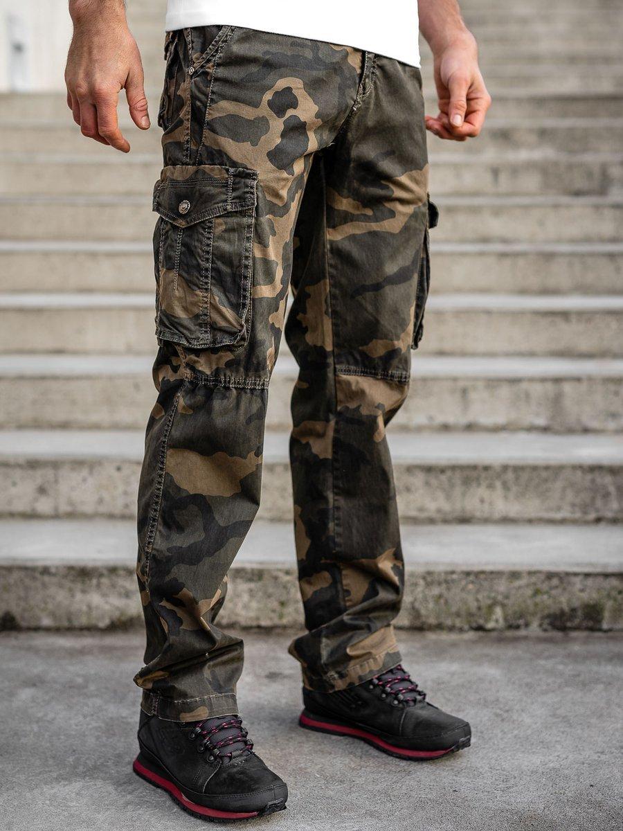 Pantaloni plus size maro cargo cu curea Bolf CT8501 imagine
