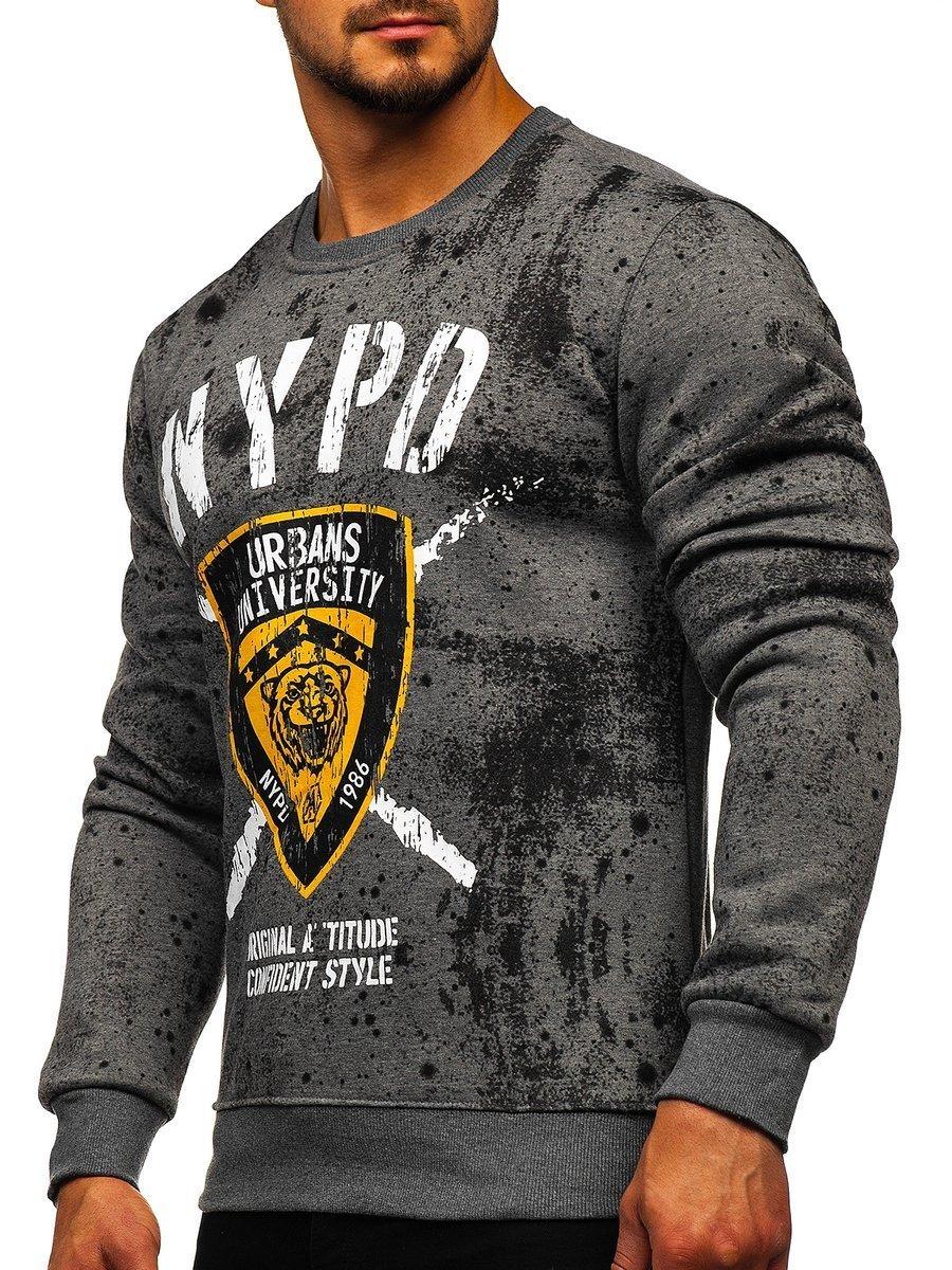 Bluză cu imprimeu grafit bărbați Bolf DD261