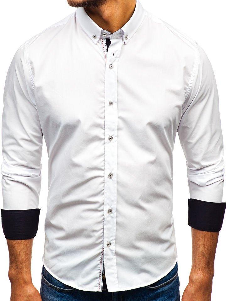 Cămașă elegantă pentru bărbat cu mâneca lungă albă Bolf 8820
