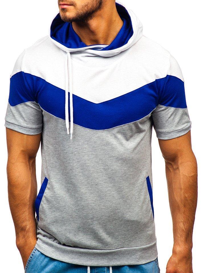 Tricou bărbați cu imprimeu și glugă gri Bolf 9026