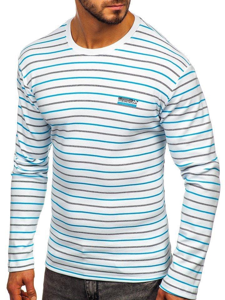 Bluza în dungi bărbati alba Bolf 1519 imagine