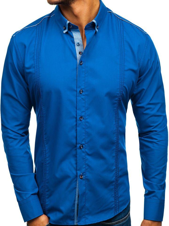 Cămașa elegantă pentru bărbat cu mâneca lungă albastru-aprins Bolf 8821