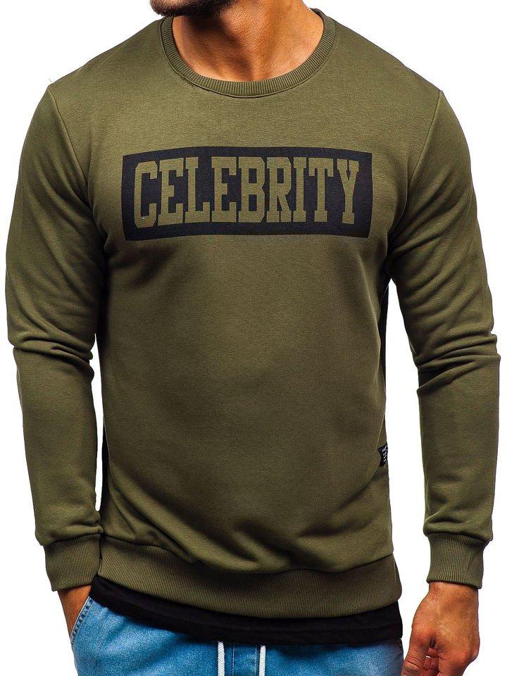 Bluză cu imprimeu bărbați kaki Bolf 11115