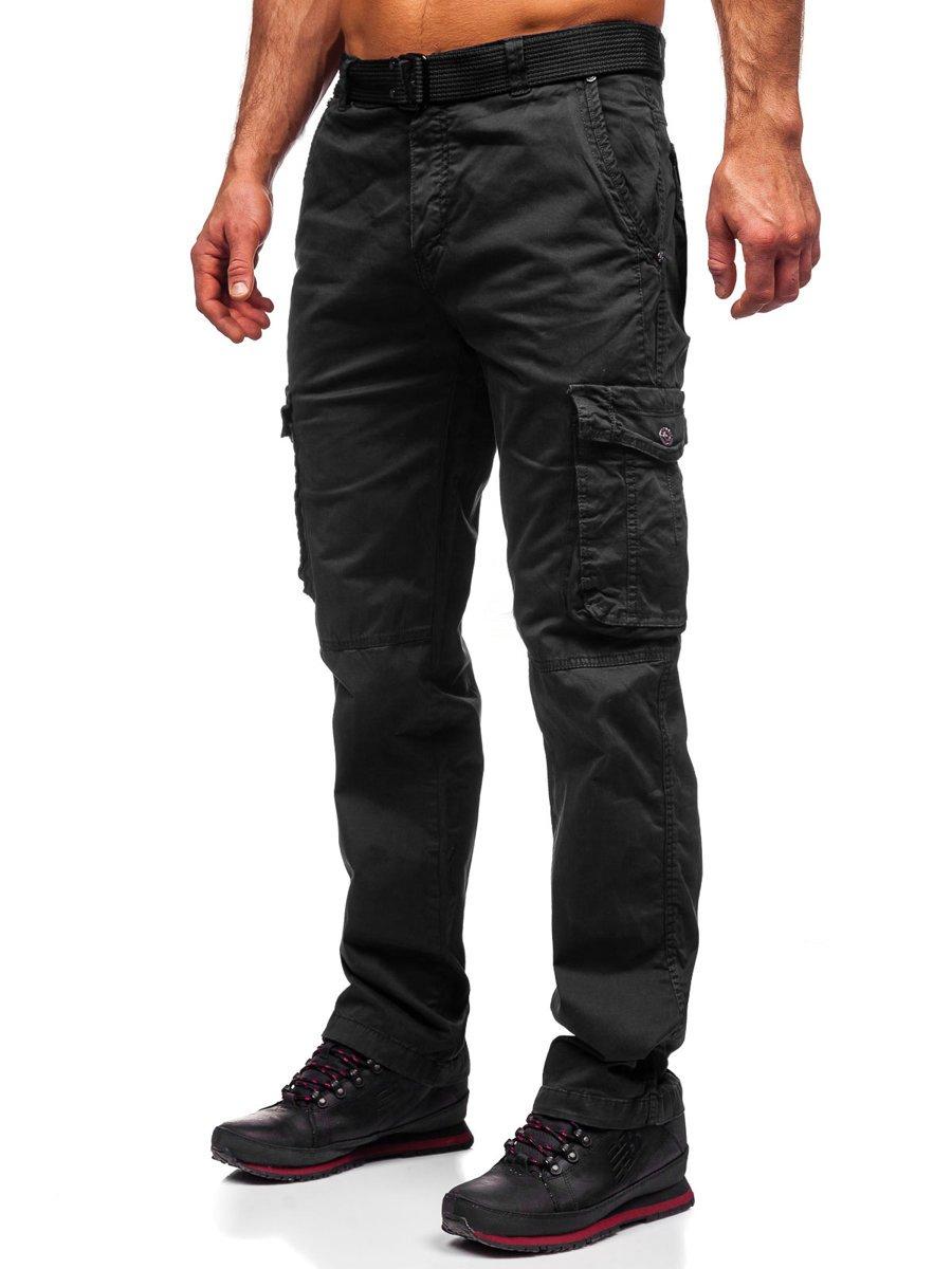 Pantaloni cargo negri cu curea Bolf CT8905