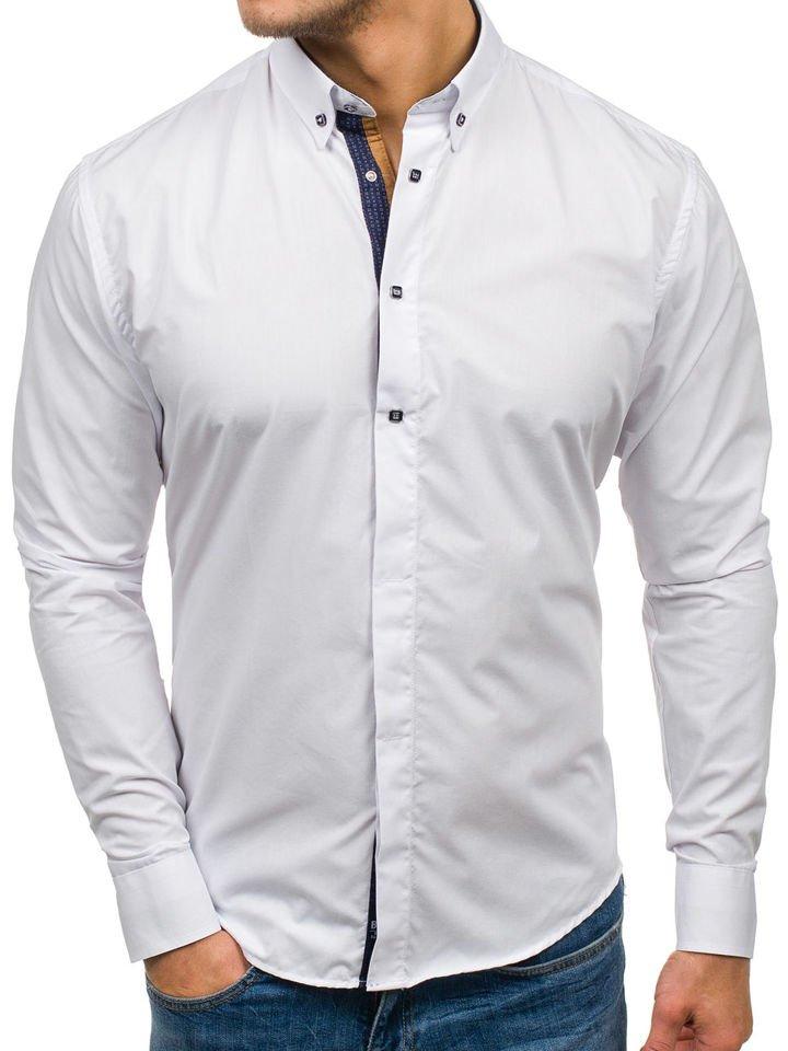 Cămașă elegantă pentru bărbat cu mâneca lungă albă Bolf 7727