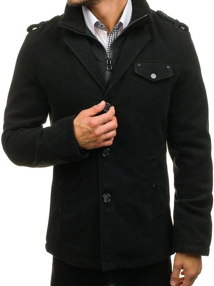 Palton negru bărbați un rând de nasturi guler înalt Bolf 8853A imagine