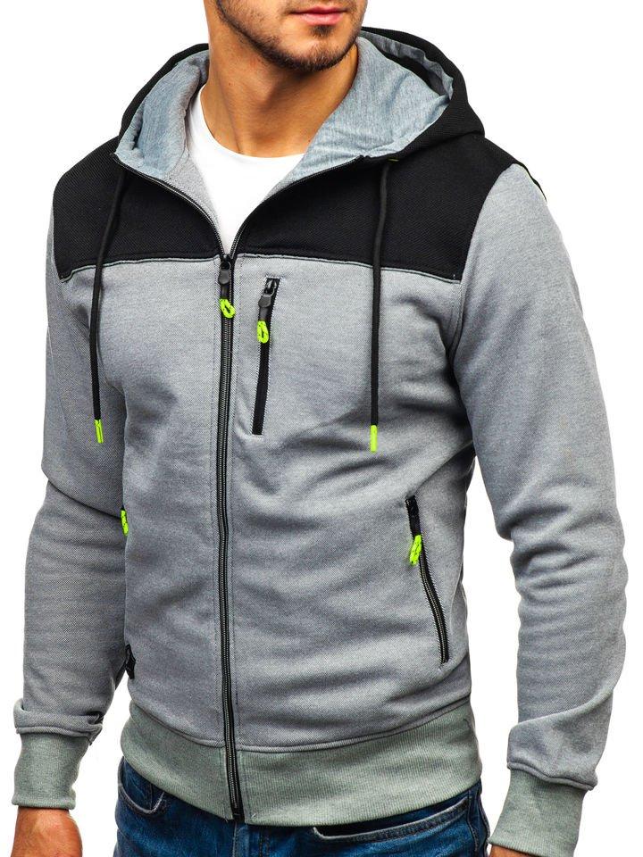 Bluză cu glugă și fermoar gri Bolf TC871