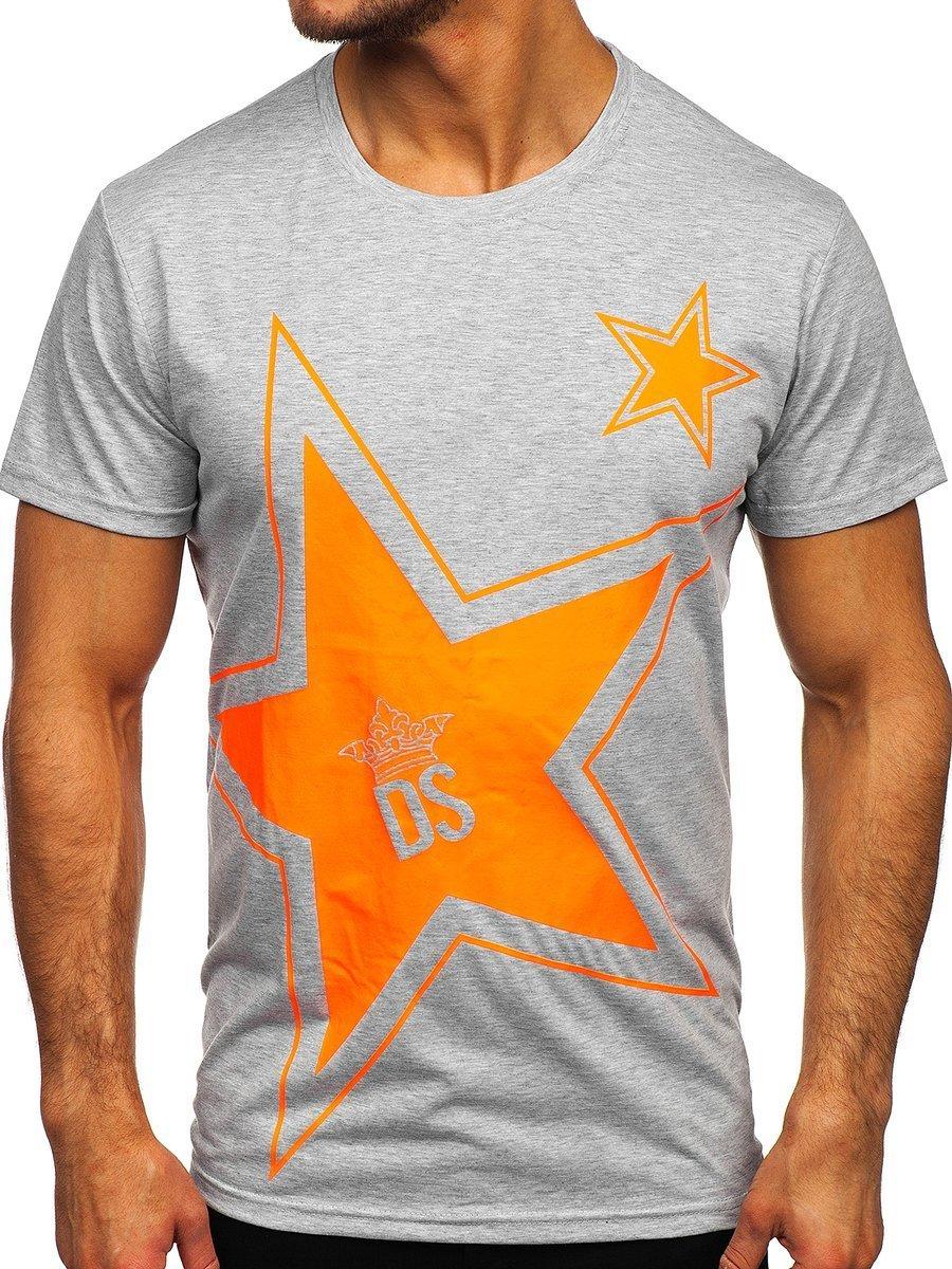 Tricou gri cu imprimeu Bolf KS2369 imagine