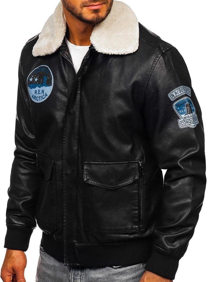 Geacă de piele pilot neagră Bolf 4794 imagine