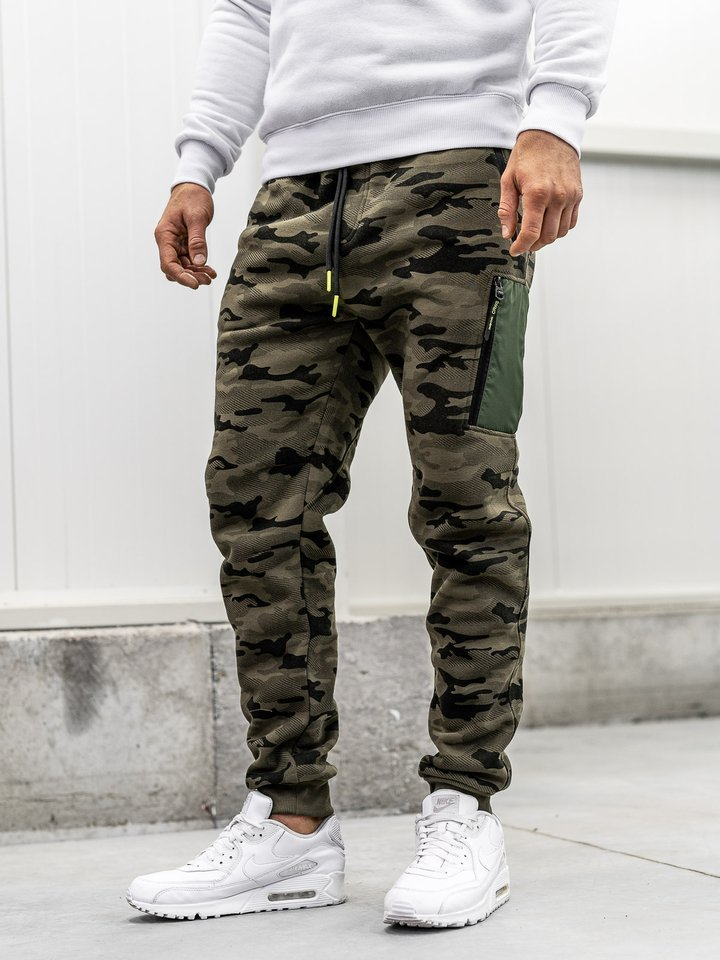 Pantaloni sportivi baggy pentru bărbat camuflaj-multicolor Bolf 3769G