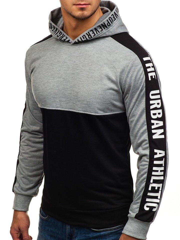 Bluză pentru bărbat cu glugă și imprimeu neagră-gri Bolf HY202 imagine