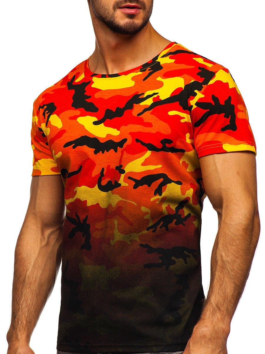 Tricou cu imprimeu portocaliu army Bolf S808