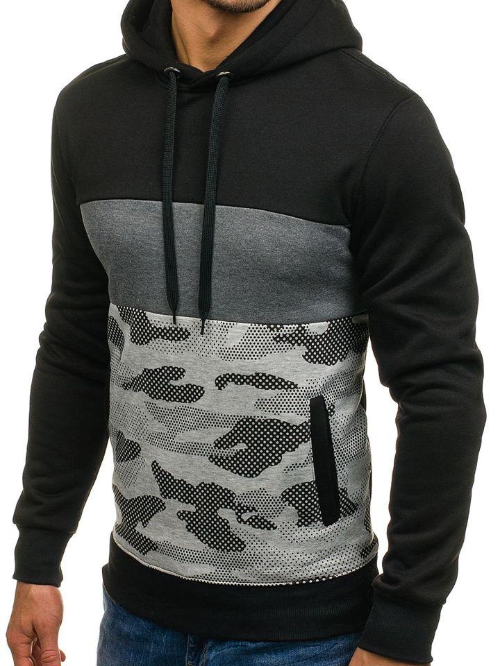 Bluză pentru bărbat cu glugă neagră Bolf XHP1003
