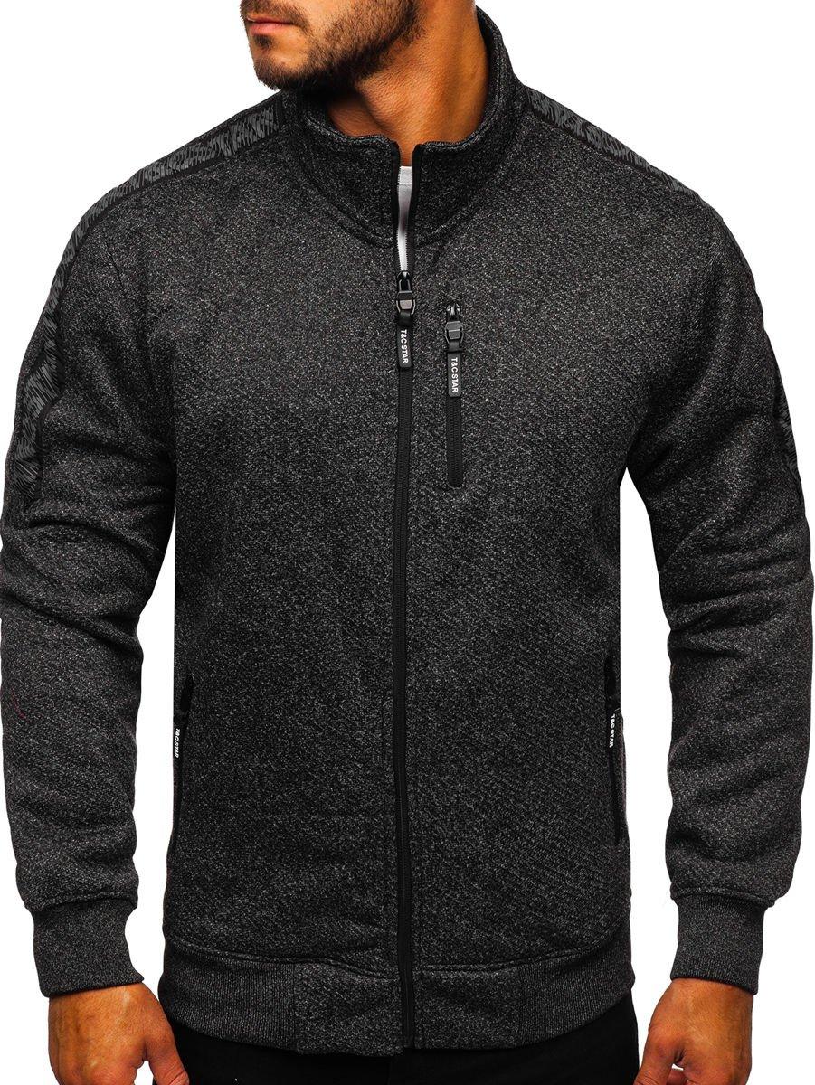Bluză cu fermoar neagră Bolf TC501