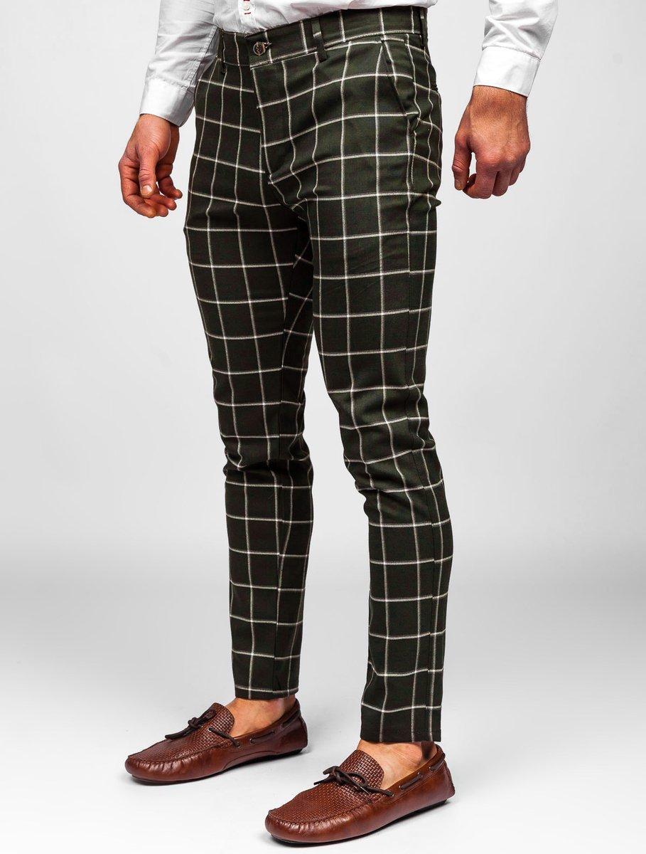 Pantaloni kaki chinos în carouri Bolf 0002
