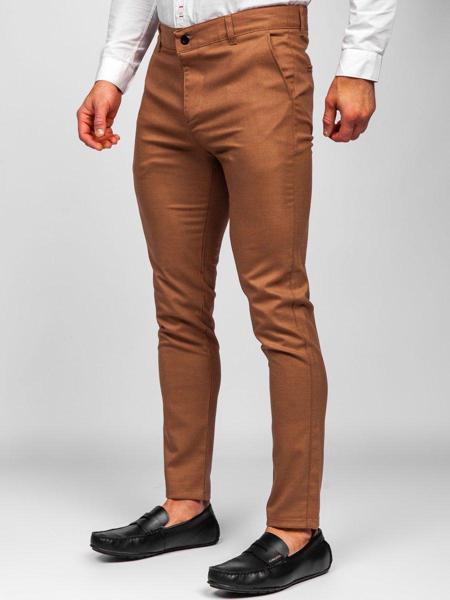 Pantaloni maro chinos Bolf 0017 imagine