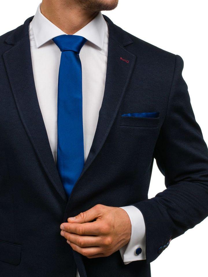 Set pentru bărbat cravată, butoni, batistă bluemarin Bolf KSP01 imagine