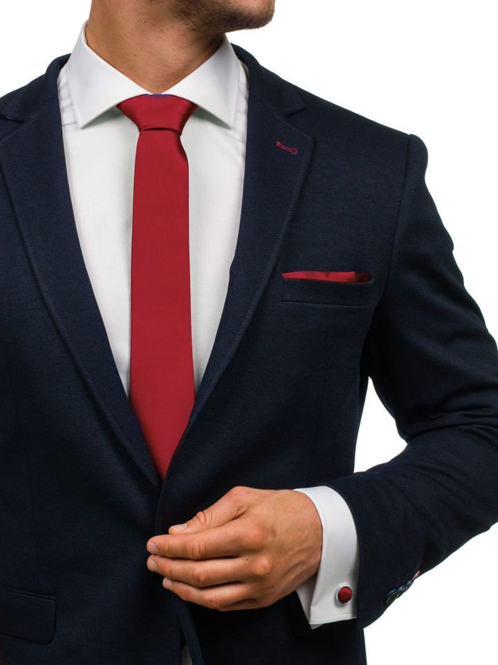 Set pentru bărbat cravată, butoni, batistă bordo Bolf KSP01 imagine
